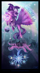 Size: 1100x1972 | Tagged: safe, artist:cosmicunicorn, tree of harmony, twilight sparkle, alicorn, pony, seraph, seraphicorn, princess twilight sparkle (episode), apotheosis, castle of the royal pony sisters, color porn, female, multiple wings, mystery box of plot importance, ruins, solo, surreal, transcendence, twilight sparkle (alicorn)