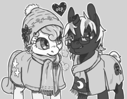Size: 1280x997 | Tagged: safe, artist:spectralunicorn, oc, oc only, oc:broken horn, oc:yellowstar, clothes, glasses, hat, heart, monochrome, scarf