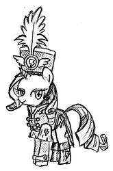 Size: 675x1024 | Tagged: safe, artist:tebasaki, rarity, pony, unicorn, testing testing 1-2-3, ancient wonderbolts uniform, black and white, clothes, female, grayscale, hat, mare, monochrome, sgt. rarity, shako, simple background, solo, traditional art, uniform