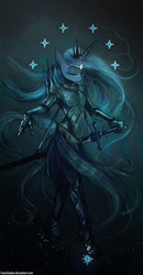 Size: 650x1248   Tagged: safe, artist:foxinshadow, princess luna, anthro, armor, crossover, eyes closed, eärendil the mariner, female, lord of the rings, silmaril, solo, sword, the silmarillion, tolkien, warrior luna, weapon
