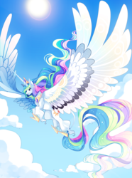 Size: 2858x3850 | Tagged: safe, artist:frogbians, princess celestia, alicorn, classical unicorn, pony, unicorn, cloud, cloudy, cloven hooves, colored wings, crown, female, flying, hoof shoes, impossibly large horn, impossibly large wings, jewelry, large wings, lens flare, leonine tail, majestic, mare, regalia, sky, smiling, solo, spread wings, sun, unshorn fetlocks, wings