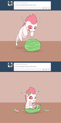 Size: 800x1601 | Tagged: ask straight fizzle, baby, baby dragon, cute, dragon, fizzabetes, fizzle, safe, tumblr, watermelon, younger