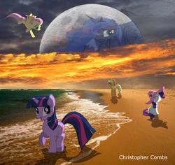 Size: 1278x1208 | Tagged: safe, artist:digitalpheonix, artist:jeatz, artist:quanno3, artist:silentmatten, applejack, fluttershy, princess luna, rarity, twilight sparkle, beach, flying, hat, irl, moon, photo, ponies in real life, shadow, sunset, vector