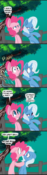 Size: 1928x7047 | Tagged: safe, artist:fauxsquared, pinkie pie, trixie, earth pony, pony, unicorn, :o, bipedal, bloodshot eyes, blue background, comic, confetti, confused, dialogue, eye contact, fart, farting confetti, female, fence, floppy ears, frown, glare, grin, leaning, lidded eyes, looking at each other, looking at you, mare, open mouth, raised eyebrow, shocked, sideways glance, simple background, smiling, smirk, speech bubble, squee, surprised, sweat, sweatdrop, tree, wat, wide eyes, worried