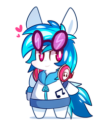 Size: 900x1050   Tagged: safe, artist:php56, dj pon-3, vinyl scratch, pony, semi-anthro, music to my ears, bipedal, chibi, clothes, cute, equestria girls outfit, female, headphones, heart, hoodie, hoof hold, impossibly large ears, jacket, pictogram, simple background, smiling, smirk, solo, white background