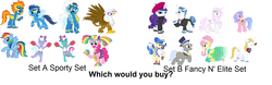 Size: 2248x704 | Tagged: safe, caesar, fancypants, fleetfoot, fleur-de-lis, fluttershy, gilda, lilac sky, pinkie pie, prince blueblood, rainbow dash, rarity, royal ribbon, sapphire shores, soarin', spitfire, spring step, sunlight spring, griffon, bronybait, idea, question, stock vector, would you buy this