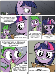Size: 4898x6468   Tagged: safe, artist:redapropos, spike, twilight sparkle, alicorn, pony, comic:maybe later spike, absurd resolution, annoyed, comic, female, mare, twilight sparkle (alicorn)