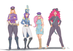 Size: 1280x908   Tagged: safe, artist:hiddentrashpony, artist:sundown, edit, applejack, colonel purple dart, fluttershy, pinkie pie, rarity, human, testing testing 1-2-3, ancient wonderbolts uniform, applebucking thighs, boots, clothes, facial hair, fake moustache, female, hat, high heel boots, horned humanization, humanized, moustache, saber, sandals, sgt. rarity, shako, shoes, simple background, uniform, weapon, white background, winged humanization