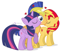 Size: 975x810 | Tagged: alicorn, artist:dm29, backwards cutie mark, blushing, eyes closed, female, flashimmer, flashlight, flashlightshimmer, flash sentry, flash sentry gets all the mares, frown, heart, kissing, kiss on the cheek, kiss sandwich, male, ot3, pegasus, polyamory, pony, raised hoof, safe, shipping, simple background, straight, sunset shimmer, surprised, surprise kiss, transparent background, twilight sparkle, twilight sparkle (alicorn), unicorn, wide eyes