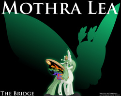 Size: 1570x1251   Tagged: safe, artist:faith-wolff, changeling, changeling queen, kaiju, fanfic:the bridge, black background, changelingified, colored sclera, colored wings, cover, fanfic art, female, godzilla (series), green sclera, kaiju changeling, mothra, mothra lea, multicolored wings, ponified, rainbow mothra, rainbow wings, simple background, solo