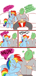 Size: 1500x3093 | Tagged: artist:graphene, comic, couch, dialogue, human, oc, oc:anon, rainbow dash, safe, scared, television
