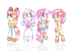 Size: 1024x724 | Tagged: safe, artist:lillyflover, apple bloom, babs seed, scootaloo, sweetie belle, anthro, cutie mark crusaders