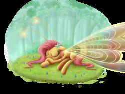 Size: 3000x2250 | Tagged: safe, artist:pirill, fluttershy, breezie, breeziefied, female, flutterbreez, sleeping, smiling, solo, species swap