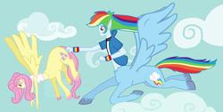 Size: 2118x1071 | Tagged: safe, artist:oneovertwo, fluttershy, rainbow dash, centaur, taur, equestria girls, centaurshy, clothes, elf ears, female, midriff, pegataur, ponytaur, tanktop