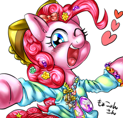 Size: 600x576 | Tagged: safe, artist:nekubi, pinkie pie, askharajukupinkiepie, bow, candy, clothes, cute, diapinkes, female, food, hair accessory, hair bow, harajuku, heart, one eye closed, open mouth, solo, sweater, wink