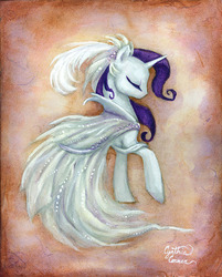 Size: 800x996 | Tagged: safe, artist:dracontiar, rarity, pony, unicorn, clothes, dress, eyes closed, female, mare, solo, traditional art