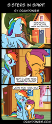 Size: 850x2000 | Tagged: safe, artist:drawponies, rainbow dash, scootaloo, pegasus, pony, caught, clubhouse, comic, crusaders clubhouse, cute, duo, feels, female, filly, heartwarming, hug, mare, plushie, rainbow dash plushie, scootalove, self plushidox, sweet dreams fuel, winghug