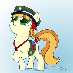 Size: 800x800 | Tagged: safe, artist:aa, artist:arcum42, tag-a-long, ask a filly scout, blank flank, colored, filly guides, hat, merit badge, ribbon, solo, thin mint
