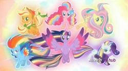 Size: 1452x810 | Tagged: safe, screencap, applejack, fluttershy, pinkie pie, rainbow dash, rarity, twilight sparkle, alicorn, pony, twilight's kingdom, cap, female, hat, hub logo, mane six, mare, rainbow power, twilight sparkle (alicorn)