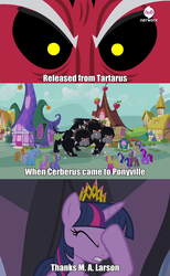 Size: 1280x2073 | Tagged: safe, edit, screencap, berry punch, berryshine, bon bon, carrot top, cerberus (character), cherry berry, comet tail, daisy, flower wishes, golden harvest, linky, lord tirek, ponet, shoeshine, star bright, sweetie drops, twilight sparkle, alicorn, cerberus, pony, equestria games (episode), it's about time, twilight's kingdom, background pony, equestria games, facehoof, female, mare, meme, multiple heads, thanks m.a. larson, three heads, twilight sparkle (alicorn), you had one job