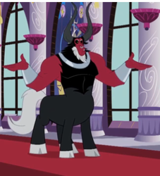 Size: 313x344 | Tagged: safe, screencap, lord tirek, centaur, twilight's kingdom, cloven hooves, cropped, male, nose piercing, nose ring, piercing, shrug, solo