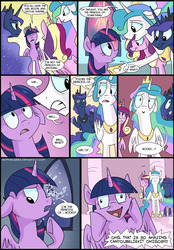 Size: 906x1300   Tagged: safe, artist:spainfischer, princess cadance, princess celestia, princess luna, twilight sparkle, alicorn, pony, twilight's kingdom, :>, : , alicorn tetrarchy, comic, derp, female, floppy ears, frown, grin, gritted teeth, mare, nervous, open mouth, princess of books, raised eyebrow, scene parody, shrug, smiling, that pony sure does love books, thinking, twilight snapple, twilight sparkle (alicorn), underhoof, wide eyes
