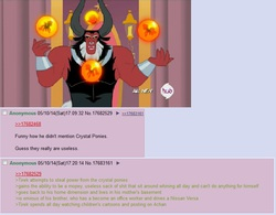 Size: 767x599 | Tagged: safe, lord tirek, crystal pony, pony, twilight's kingdom, /mlp/, 4chan, nose piercing, nose ring, piercing, text