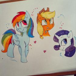 Size: 475x475 | Tagged: applejack, artist:bloodyhellhayden, rainbow dash, rarity, safe, traditional art
