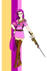 Size: 1672x2526 | Tagged: artist:danecelestia, bracelet, clothes, crossover, dress, gun, high heel boots, human, humanized, looking at you, necklace, princess cadance, rwby, safe, solo, sword, weapon