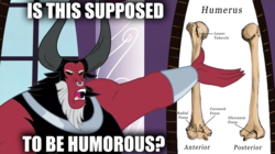 Size: 1364x766 | Tagged: safe, edit, lord tirek, twilight's kingdom, /mlp/, bad pun, image macro, is this supposed to be humorous, male, meme, nose piercing, nose ring, piercing, pun, solo, visual pun