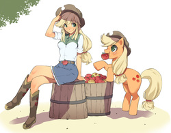 Size: 1927x1500   Tagged: safe, artist:takeda sun, applejack, equestria girls, apple, basket, bipedal leaning, eye contact, female, human ponidox, mouth hold, pixiv, sitting, solo, square crossover