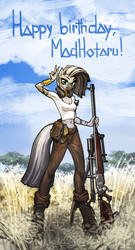 Size: 1750x3252 | Tagged: alternate hairstyle, anthro, artist:vombavr, bipedal, birthday, clothes, female, gun, hoof boots, optical sight, rifle, safe, sniper rifle, solo, source needed, text, unguligrade anthro, weapon, zebra, zecora