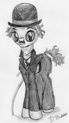 Size: 1679x3000 | Tagged: safe, artist:doublebackstitcharts, black and white, cane, charlie chaplin, clothes, grayscale, hat, monochrome, moustache, ponified, sketch, solo, suit, traditional art