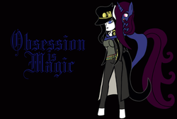 Size: 1024x689 | Tagged: anthro, artist:thelordofdust, belt, clothes, coat, crossover, hat, human facial structure, jojo's bizarre adventure, jotaro kujo, lipstick, mascara, obsession is magic, oc, oc:maneia, oc:nocturna, over shoulder, pants, safe, smiling, stand, unicorn