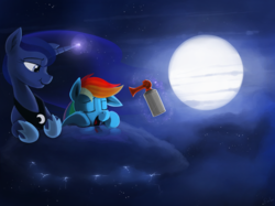 Size: 2000x1495 | Tagged: safe, artist:dimfann, princess luna, rainbow dash, alicorn, pegasus, pony, :t, airhorn, bedroom eyes, cute, duo, eyes closed, female, floppy ears, fluffy, glowing horn, lightning, magic, mare, moon, night, nose wrinkle, open mouth, prank, prone, sky, sleeping, smiling, stormcloud, telekinesis, this will end in tears