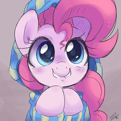 Size: 1500x1500 | Tagged: safe, artist:steffy-beff, pinkie pie, earth pony, pony, blushing, bust, clothes, cute, diapinkes, female, grin, hoodie, hooves together, lip bite, looking at you, mare, portrait, smiling, solo