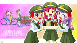 Size: 1249x700 | Tagged: safe, artist:uotapo, edit, apple bloom, scootaloo, sunset shimmer, sweetie belle, tag-a-long, equestria girls, adorabloom, bicycle, blushing, charity, clothes, cookie, cute, cutealoo, cutie mark crusaders, diasweetes, equestria girls-ified, female, filly guides, filly scouts, girl scout, girl scout uniform, girl scouts, hat, looking at you, one eye closed, open mouth, samoas, scout uniform, skirt, sunset helper, sweet dreams fuel, thin mint, uotapo is trying to murder us, weapons-grade cute, wink