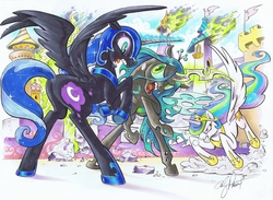 Size: 1095x800 | Tagged: safe, artist:andypriceart, nightmare moon, princess celestia, queen chrysalis, alicorn, pony, canterlot, charge, dock, female, fight, fire, glare, magic, mare, open mouth, plot, rearing, snorting, spread wings, wide eyes