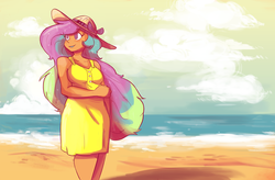 Size: 1280x841 | Tagged: artist:herny, beach, chubby, chubbylestia, clothes, cloud, cloudy, dress, grin, hat, human, humanized, lipstick, moderate dark skin, ocean, princess celestia, safe, smiling, solo, sundress, sun hat, tan, tanlestia