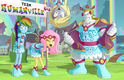 Size: 1010x654 | Tagged: safe, artist:berrypawnch, bulk biceps, derpy hooves, fluttershy, rainbow dash, equestria girls, rainbow falls, blush sticker, blushing, boots, clothes, crossdressing, dress, embarrassed, equestria girls interpretation, equestria girls-ified, eyes closed, female, flag, flower, flower in hair, frown, grin, gritted teeth, happy, jacket, looking at you, male, open mouth, rainbow, scene interpretation, skirt, smiling, smirk, train, upside down, wide eyes, yay