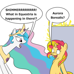 Size: 951x953 | Tagged: safe, artist:meepymaybelle, princess celestia, sunset shimmer, alicorn, pony, unicorn, 22 short films about springfield, aurora borealis, bad poker face, blatant lies, door, fiery shimmer, fire, simpsons did it, speech bubble, steamed hams, the simpsons