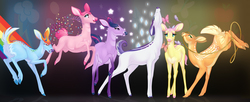 Size: 3375x1372   Tagged: safe, artist:shadowwolf, applejack, fluttershy, pinkie pie, rainbow dash, rarity, twilight sparkle, butterfly, deer, antlers, appledeer, bucking, cloven hooves, colored hooves, confetti, cute, cutie mark, deerie pie, deerified, doe, floppy ears, flutterdeer, grin, horns, lasso, looking at you, majestic, mane six, mouth hold, open mouth, pronking, rainbow deer, raised hoof, raised leg, rarideer, smiling, smirk, sparkles, species swap, stretching, underhoof