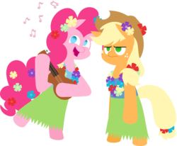 Size: 2713x2234   Tagged: safe, artist:zacatron94, applejack, pinkie pie, pony, applejack is not amused, bipedal, clothes, grass skirt, hula, hulajack, hulapie, lei, looking at you, musical instrument, simple background, skirt, transparent background, ukulele, unamused, vector