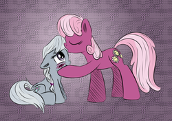 Size: 800x563 | Tagged: safe, artist:arcum42, artist:xioade, cheerilee, silver spoon, earth pony, pony, blushing, cheerispoon, colored, female, kissing, lesbian, missing accessory, shipping