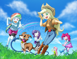 Size: 1040x800 | Tagged: safe, artist:uotapo, applejack, fluttershy, pinkie pie, rainbow dash, rarity, winona, bird, dog, equestria girls, angry, anime, applejack's hat, belt, boots, bra, clothes, cloud, comedy, compression shorts, cowboy boots, cowboy hat, cute, dashabetes, day, diapinkes, eyes closed, female, funny, garden hose, grass, green eyes, happy, hat, having fun, hose, jackabetes, jeans, mouth hold, one eye closed, open mouth, pants, pink eyes, raribetes, scared, see-through, see-through shirt, shoes, shorts, shorts over shorts, shrunken pupils, shyabetes, skirt, sky, smiling, sneakers, socks, sunny day, tongue out, tongue sticking out, underwear, visible bra, wall of tags, water spray, wet, wet clothes, wet shirt, wink, winonabetes