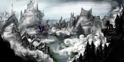 Size: 1224x612 | Tagged: safe, artist:masterjosh140, fluttershy, spike, dragon, pegasus, pony, dragonshy, canterlot, canterlot castle, crossover, dovahkiin, dovahshy, mountain, parody, scenery, skyrim, snow, the elder scrolls