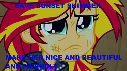 Size: 1920x1080   Tagged: safe, screencap, sunset shimmer, equestria girls, equestria girls (movie), bronybait, caption, crying, female, hilarious in hindsight, it happened, reformation, shimmerbuse, sunsad shimmer, text