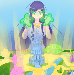 Size: 1500x1533   Tagged: safe, artist:jonfawkes, rarity, human, inspiration manifestation, elf ears, gold, golden road, humanized, inspirarity, ponyville town hall, possessed, solo, unicorns as elves