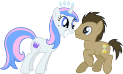 Size: 1151x694 | Tagged: safe, artist:liggliluff, doctor whooves, time turner, oc, oc:princess paradise, simple background, tell me i'm pretty, tiara, transparent background, vector
