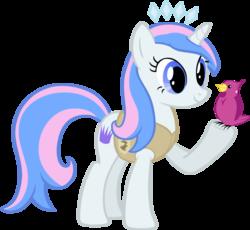 Size: 931x858 | Tagged: safe, artist:liggliluff, oc, oc only, oc:princess paradise, bird, pony, unicorn, animal team, raised hoof, simple background, solo, tiara, transparent background, vector, winter wrap up vest